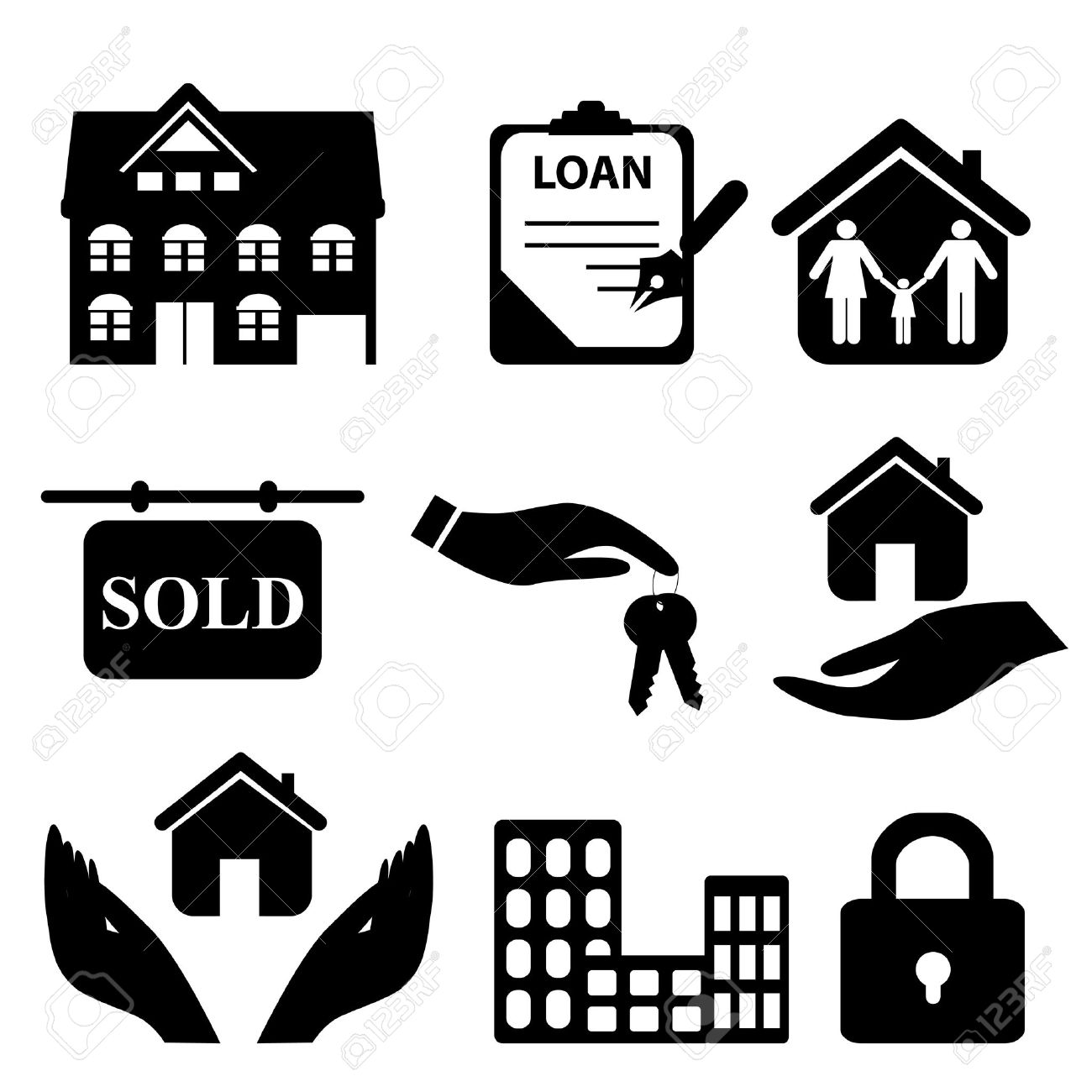 Real estate symbols icon set royalty free cliparts vectors and real estate symbols icon set stock vector 8386932 biocorpaavc Image collections