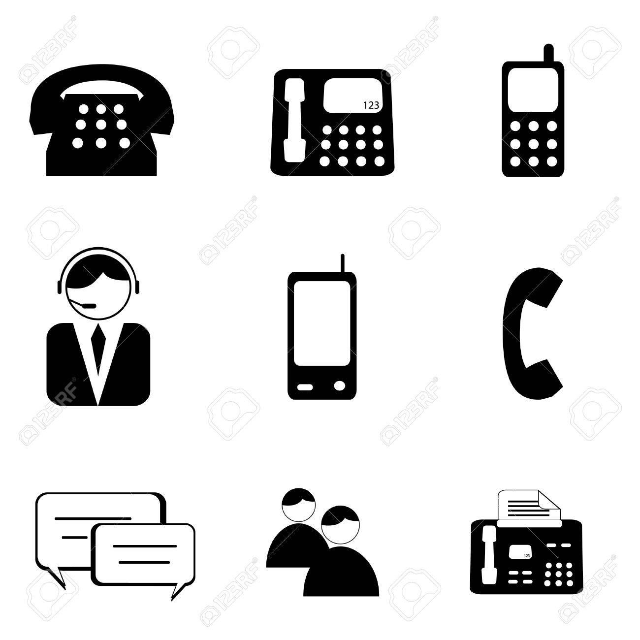Telephone and communication icon set - 8386850