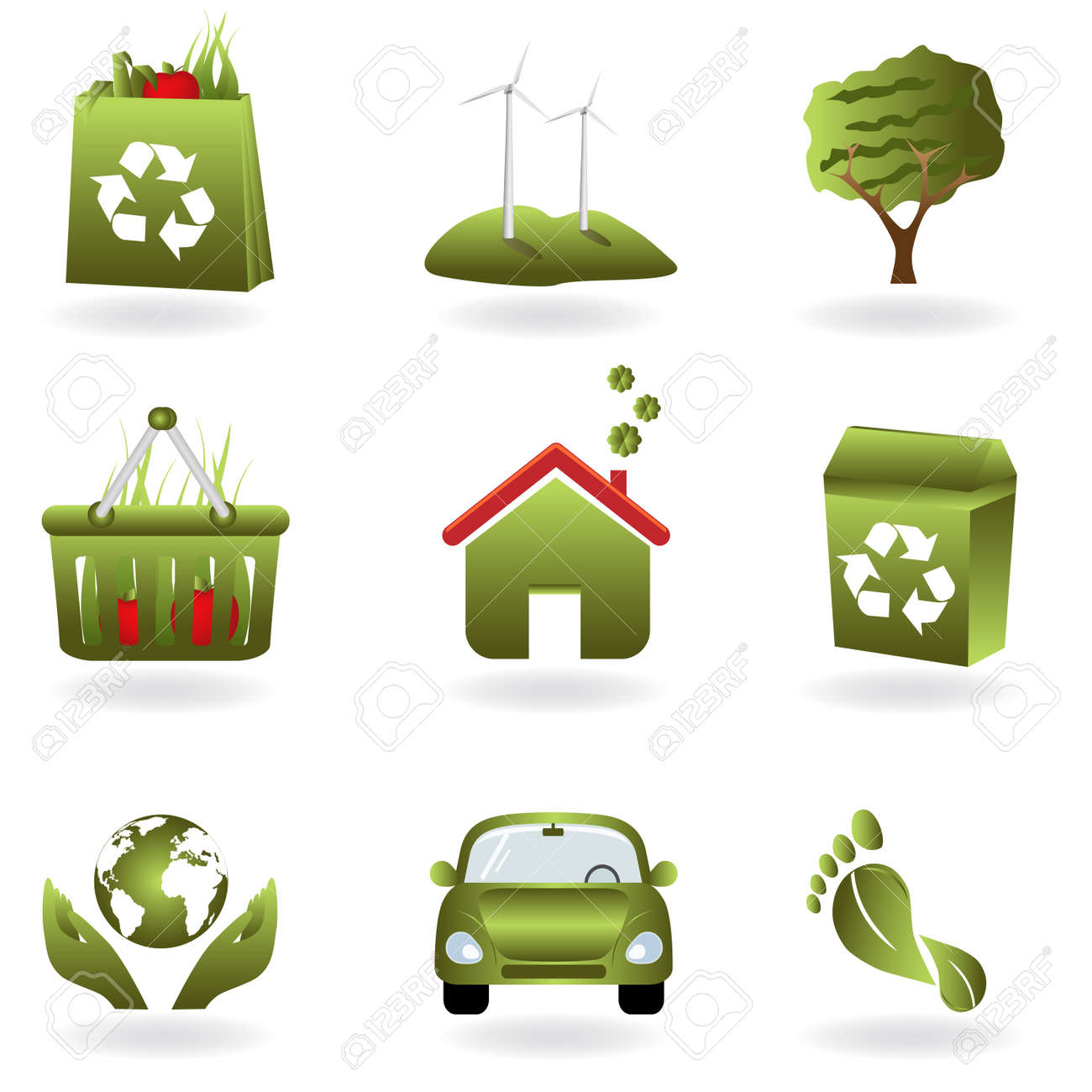Recycling and green related eco symbols Stock Vector - 8694746