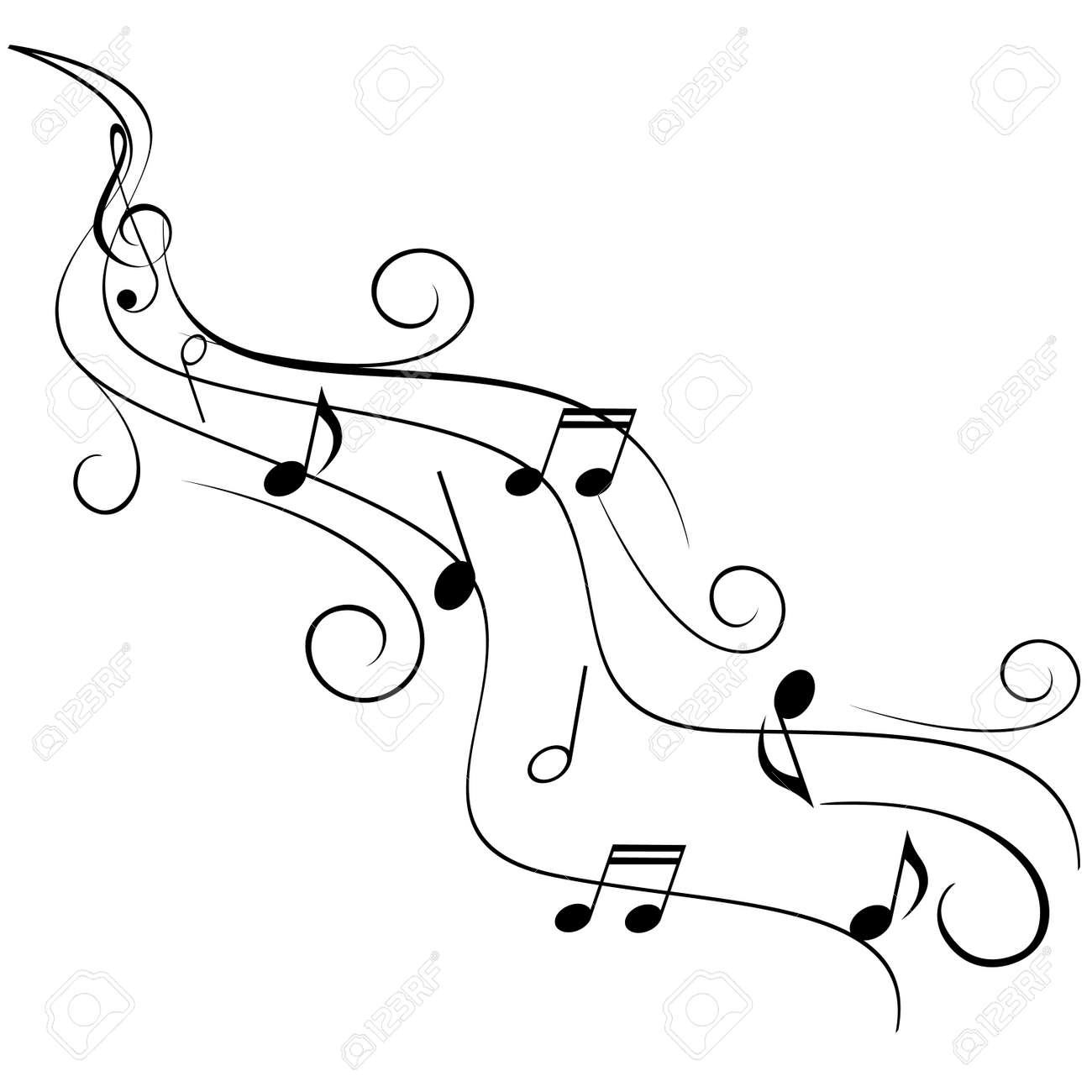Musical notes staff background on white vector by tassel78 image - Treble Clef Music Notes On Swirling Stave Illustration