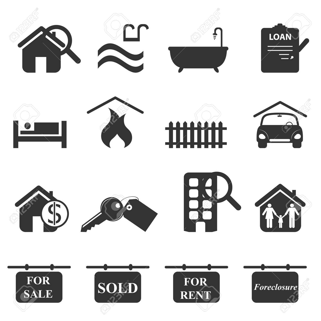Real estate icons in gray Stock Vector - 8923682