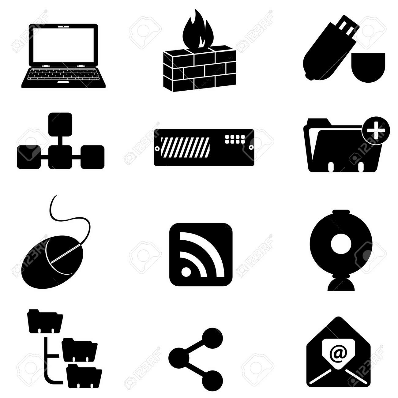 Computer and technology icon set Stock Vector - 9330394