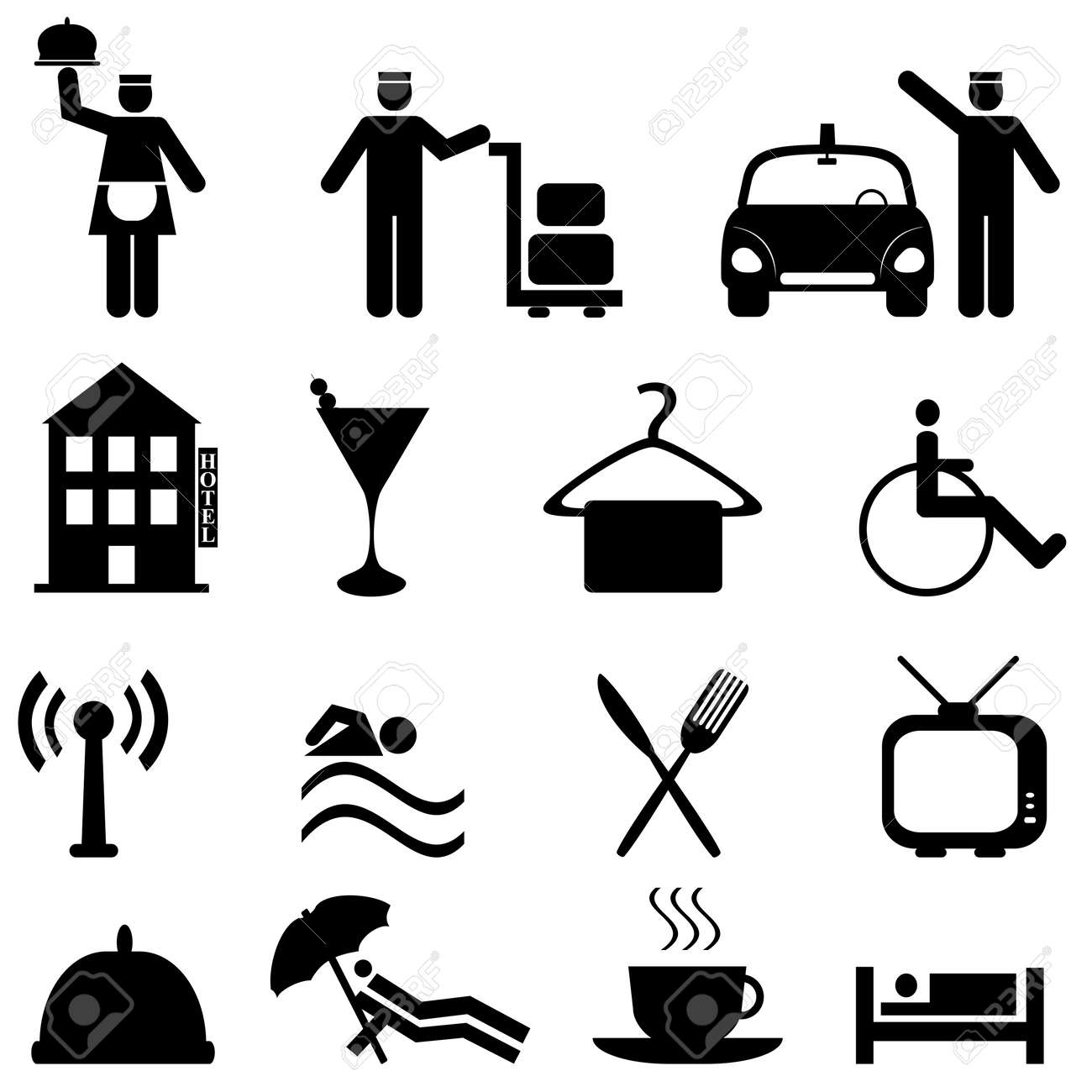 Hotel And Hospitality Icon Set In Black Stock Vector