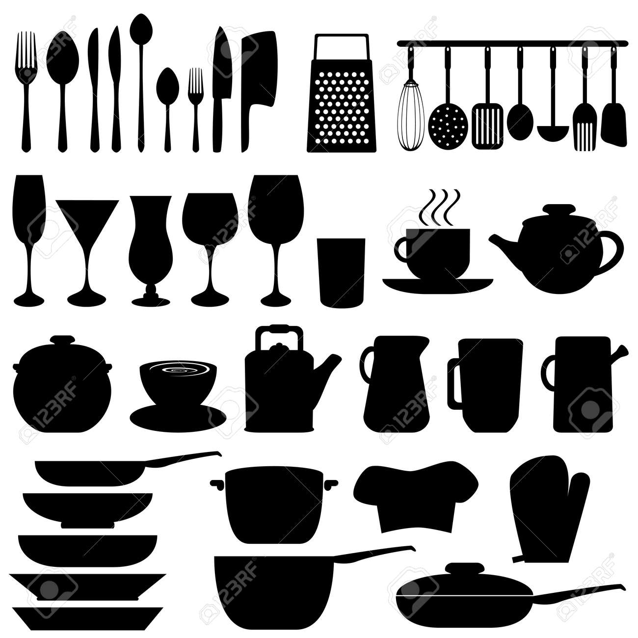 Kitchen objects and utensils in black Stock Vector - 9616545