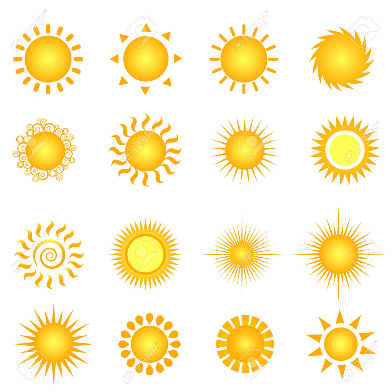 Various suns icon set on white Stock Vector - 9616548