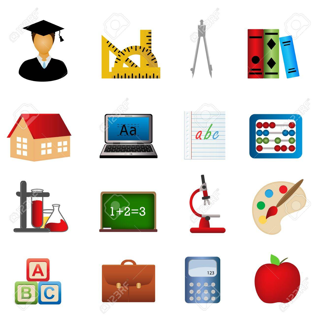 Education and school related symbols icon set Stock Vector - 9721292