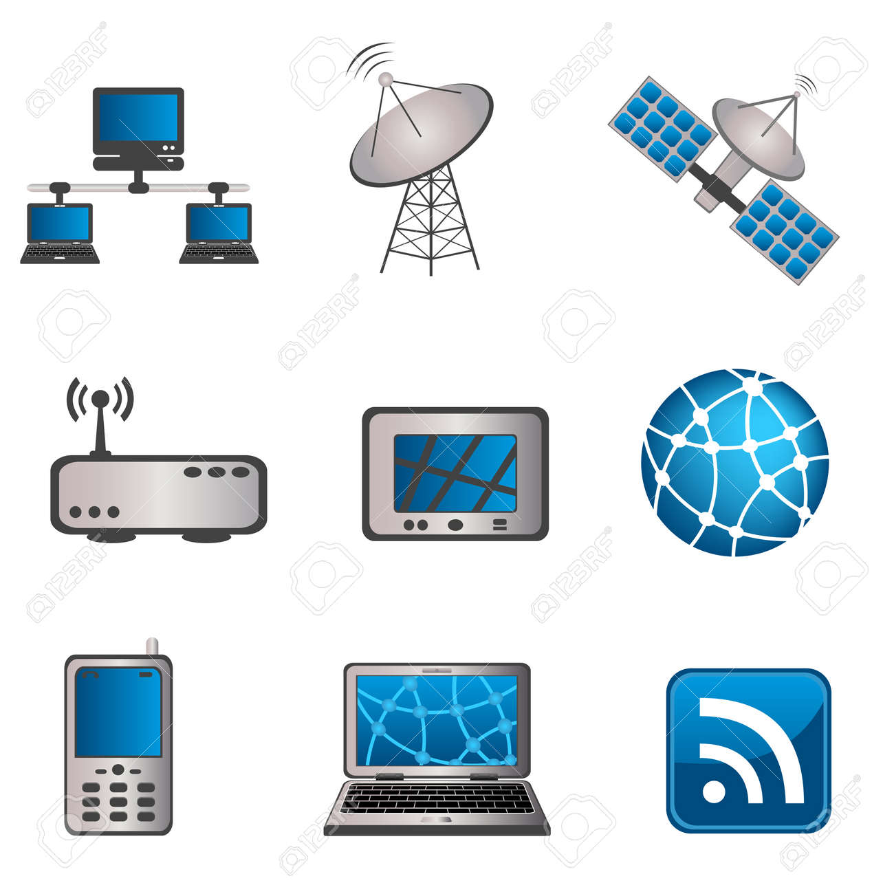 Communication Technology And Computer Icon Set Royalty Free Cliparts Vectors And Stock Illustration Image 9885218