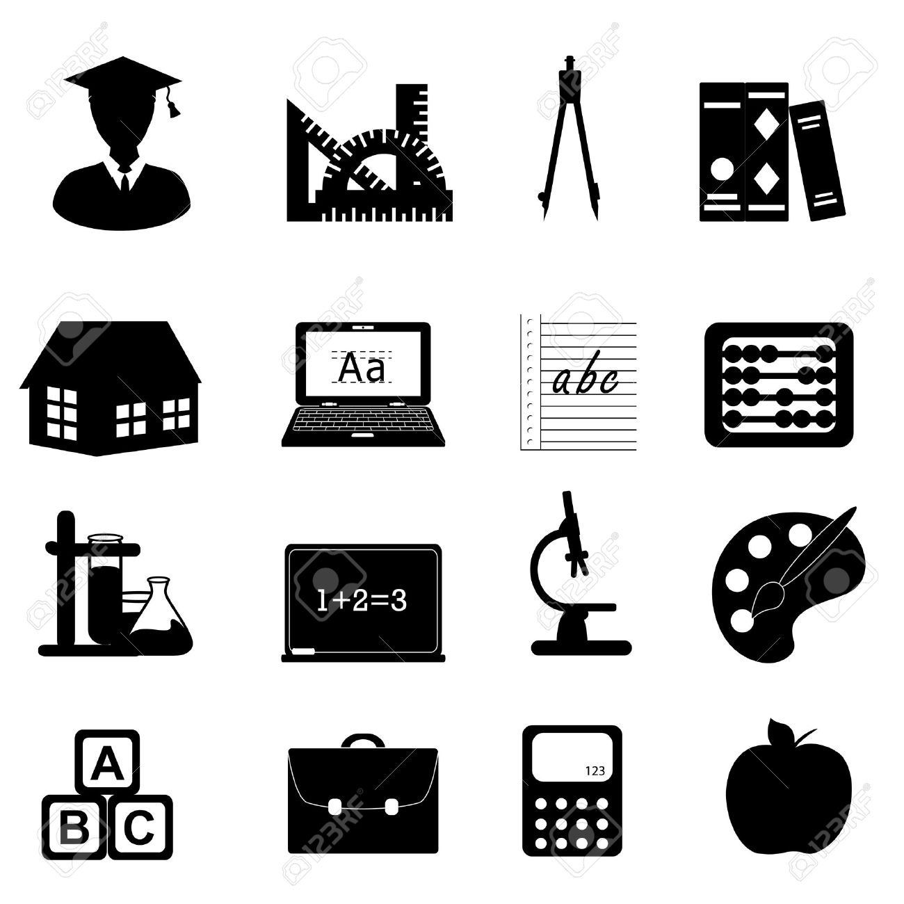 Education And School Related Symbols Icon Set Royalty Free Cliparts