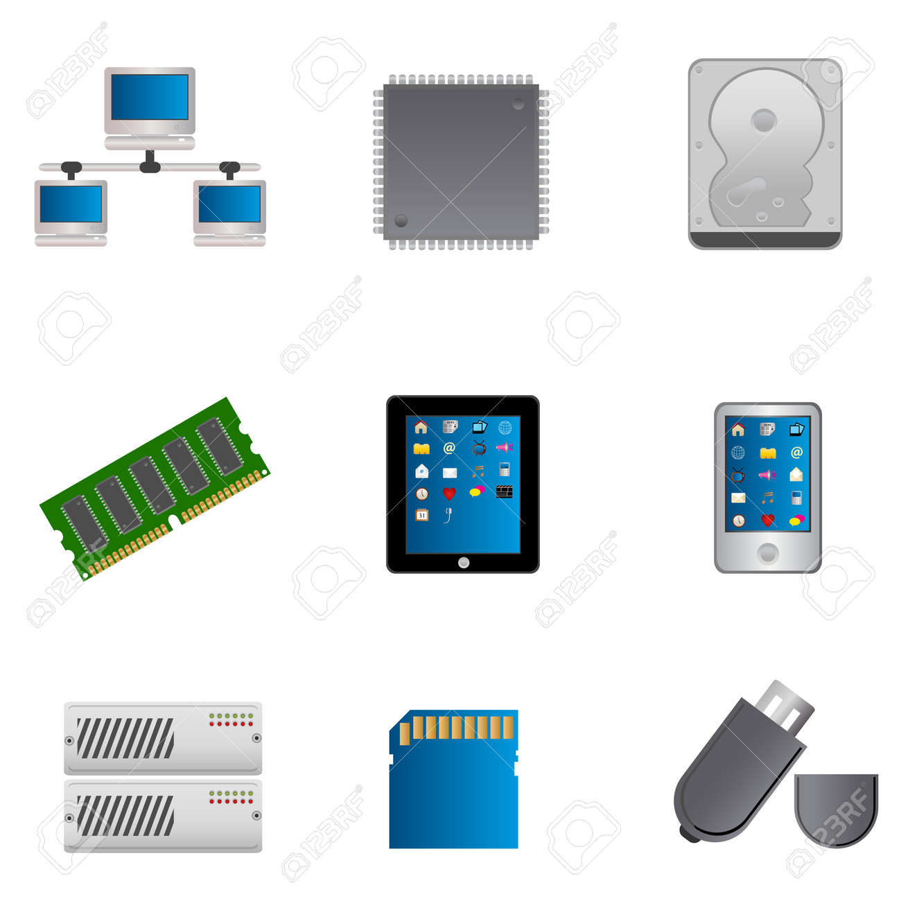 Computer parts and computers icon set Stock Vector - 10120316