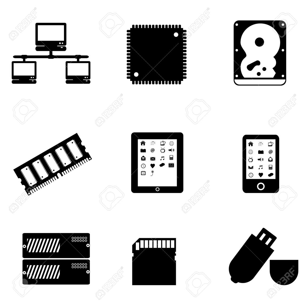Computer parts and peripheral devices Stock Vector - 10282748