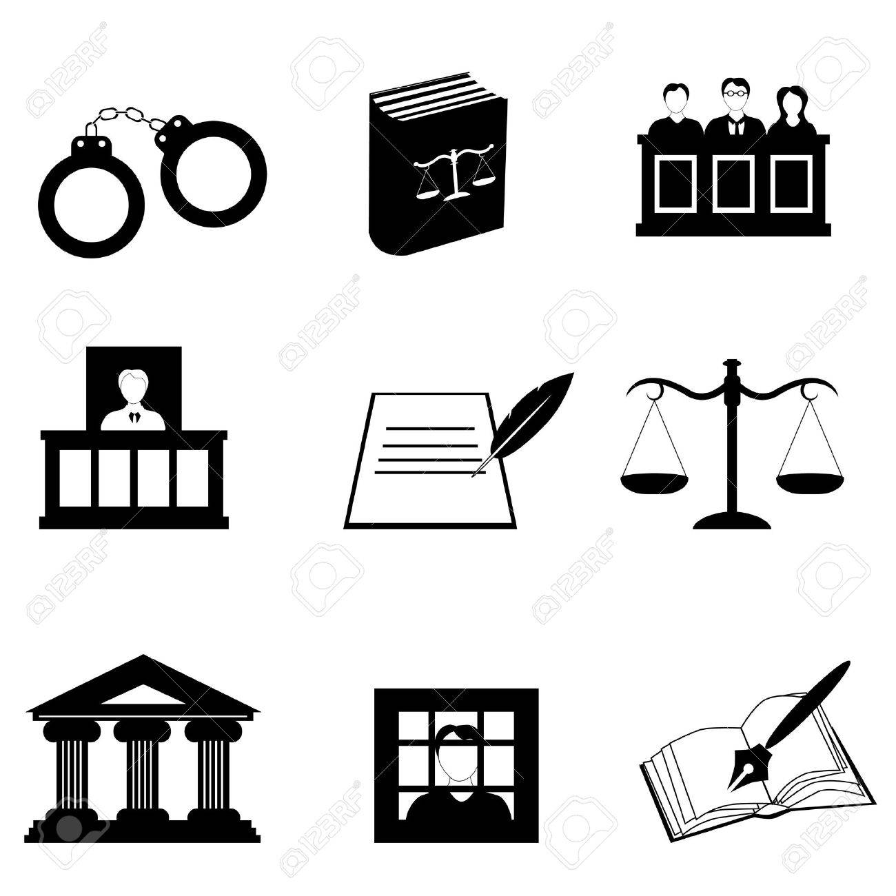 Justice, law and legal icon set Stock Vector - 10282747