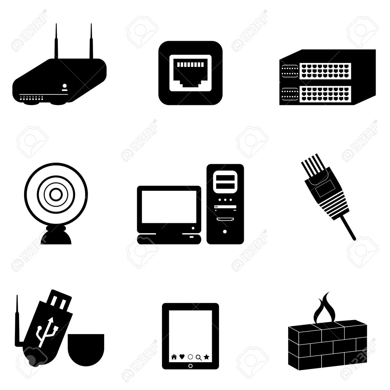 Computer and network devices and parts Stock Vector - 10354981