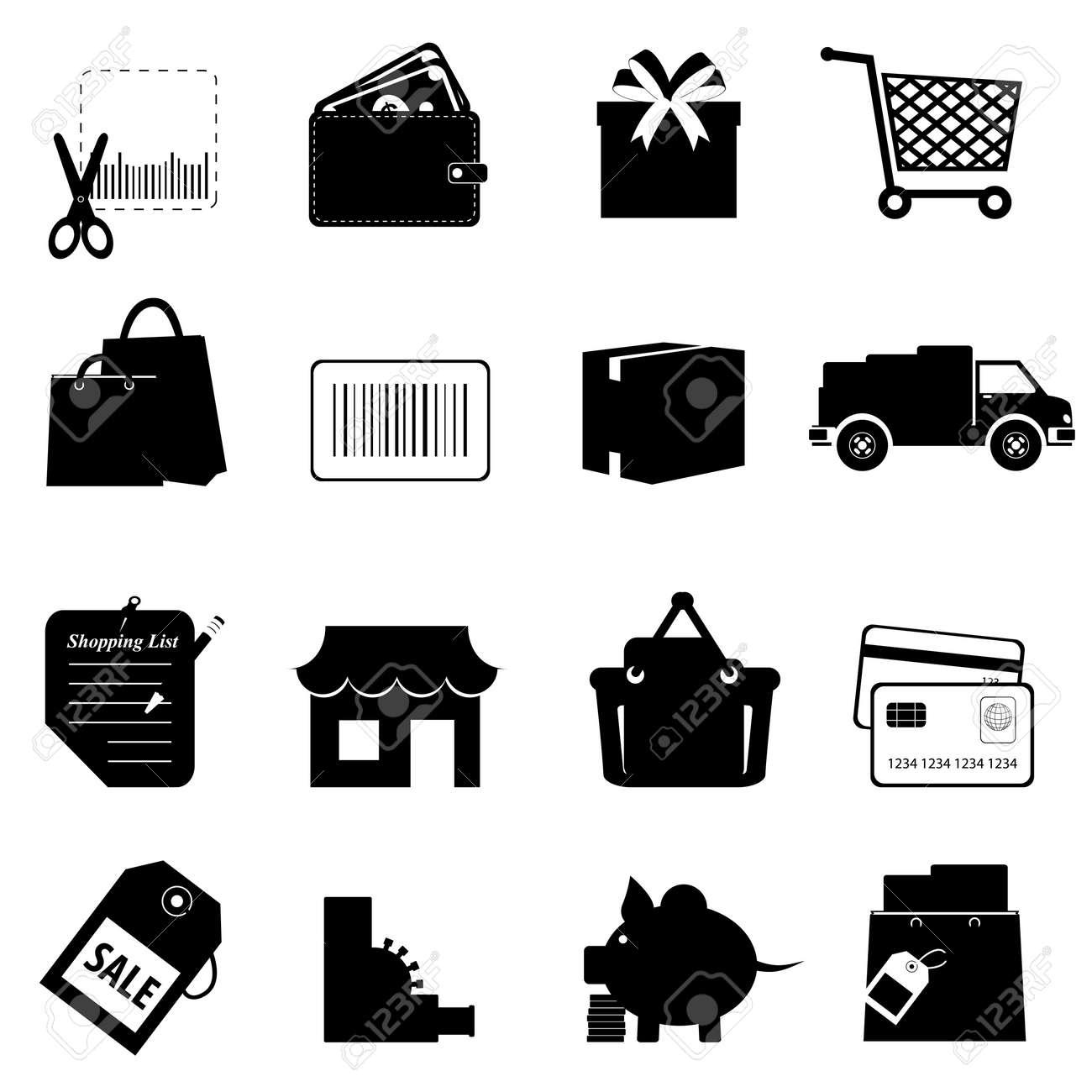 Shopping symbols icon set on white Stock Vector - 10604010
