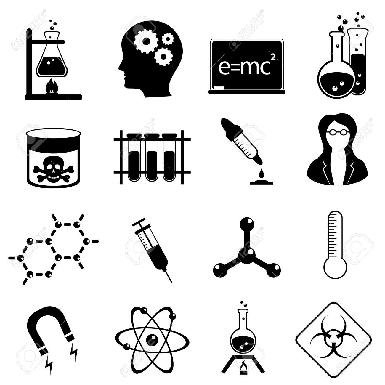 chemistry and medical science icon set in black royalty free cliparts vectors and stock illustration image 10679037 chemistry and medical science icon set in black