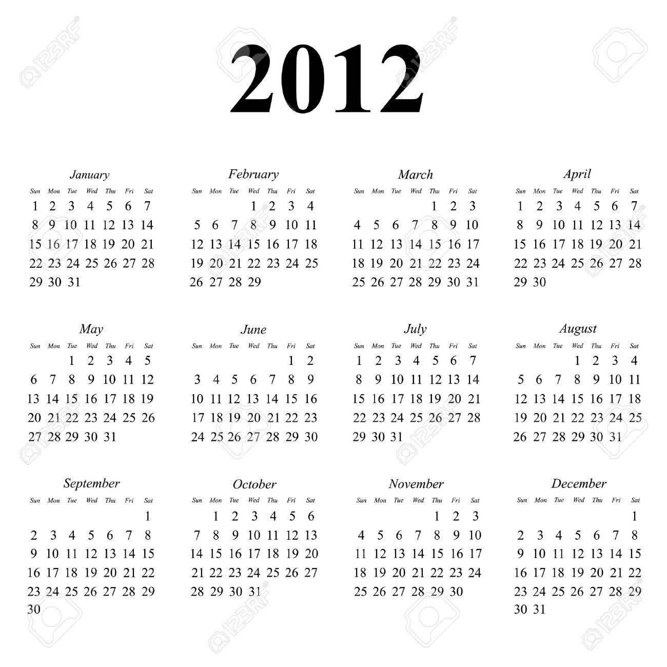 calendar simple clean layout royalty cliparts 2012 calendar simple clean layout stock vector 10756086