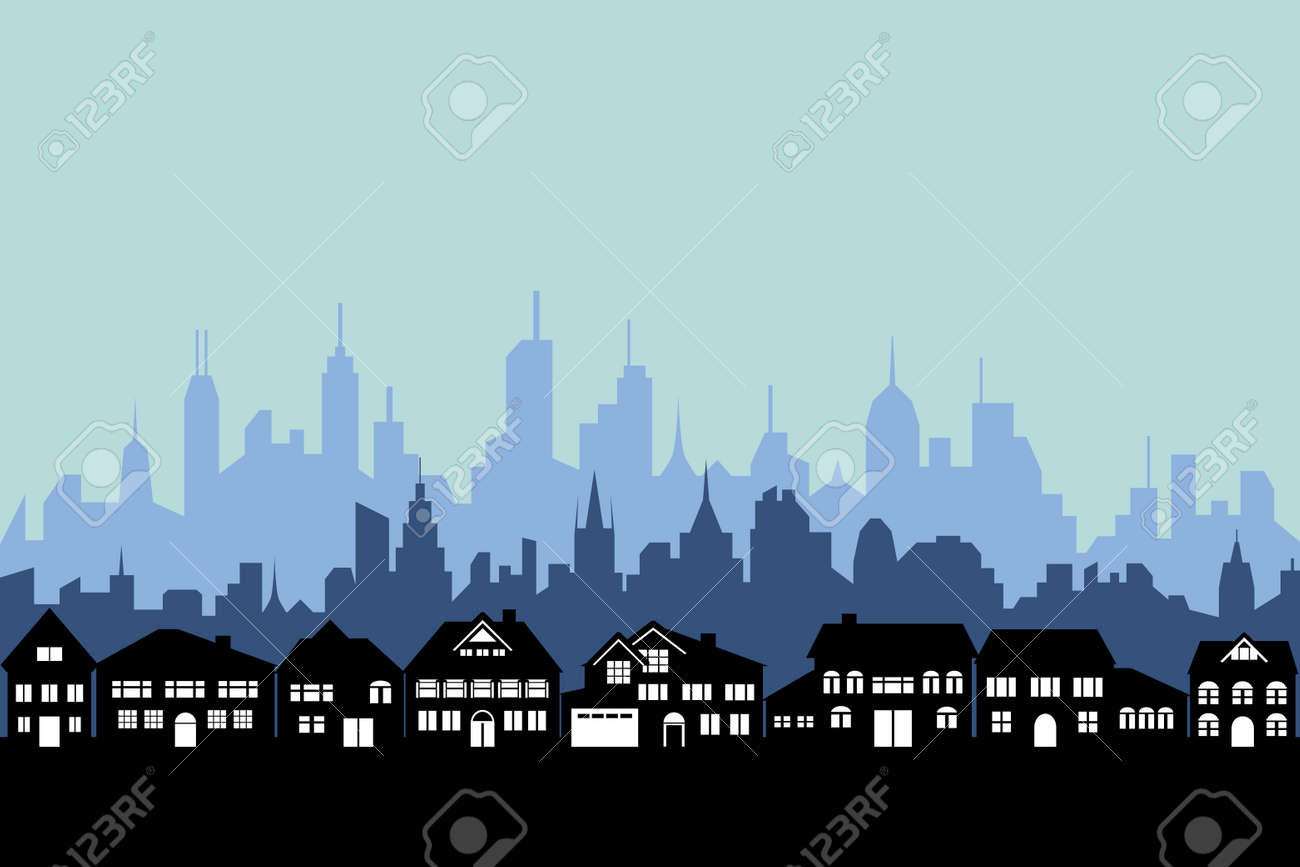 Suburbs and the urban city silhouette - 10828202