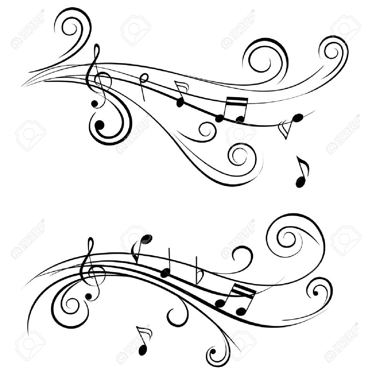 Black And White Music Notes Background Ornamental music notes with