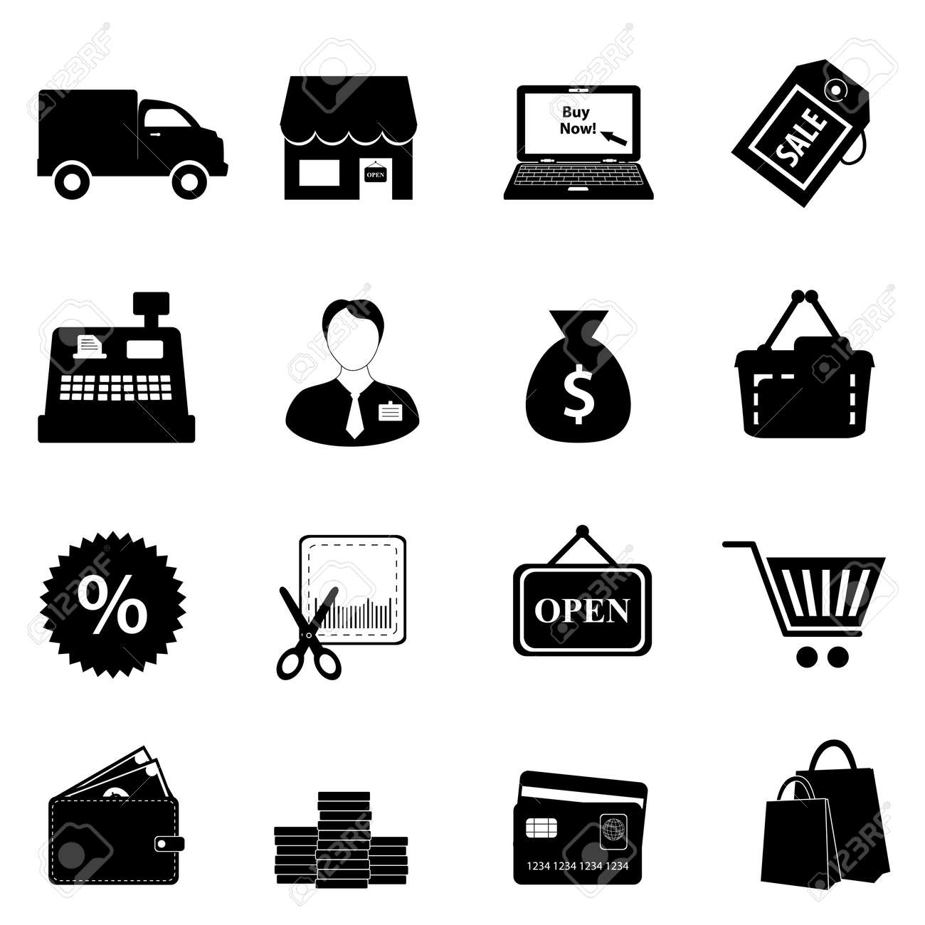 Shopping icon set in black Stock Vector - 11381938
