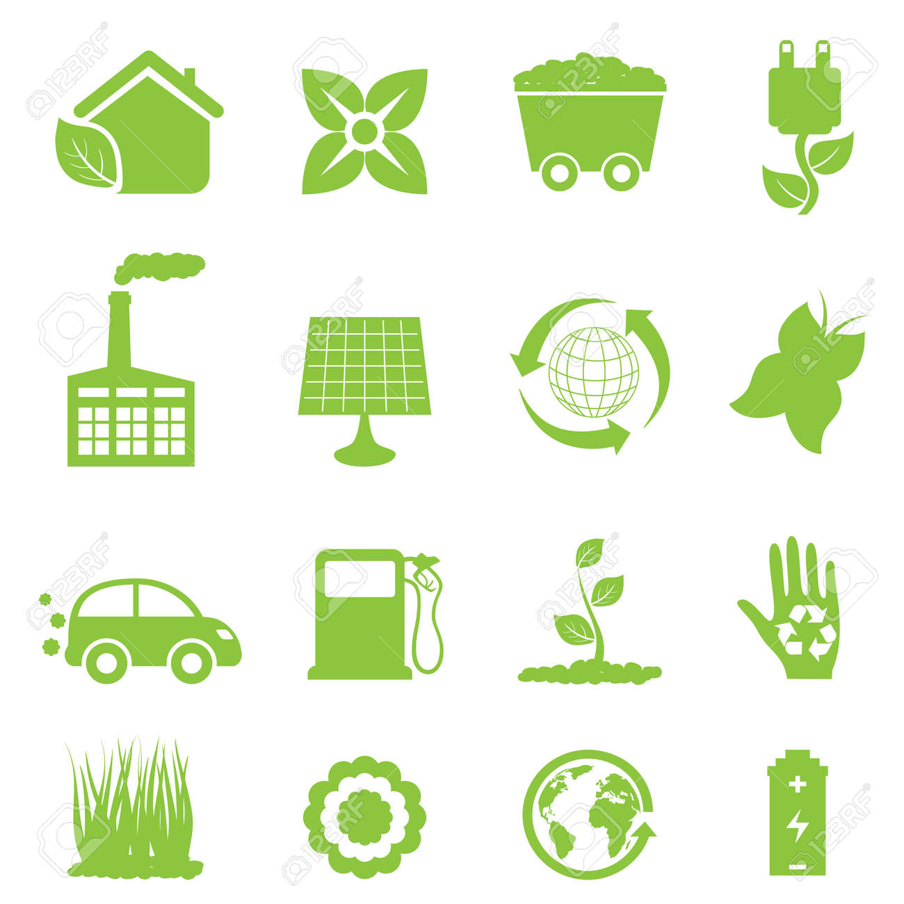 Recycling and clean energy icon set - 11381941