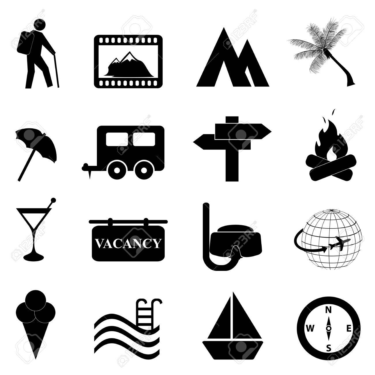 Leisure and recreation icon set on white background Stock Vector - 11381943