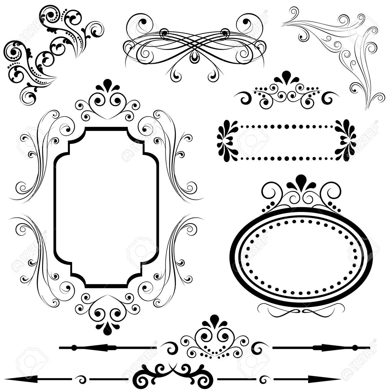 Calligraphic Border And Frame Designs Royalty Free Cliparts