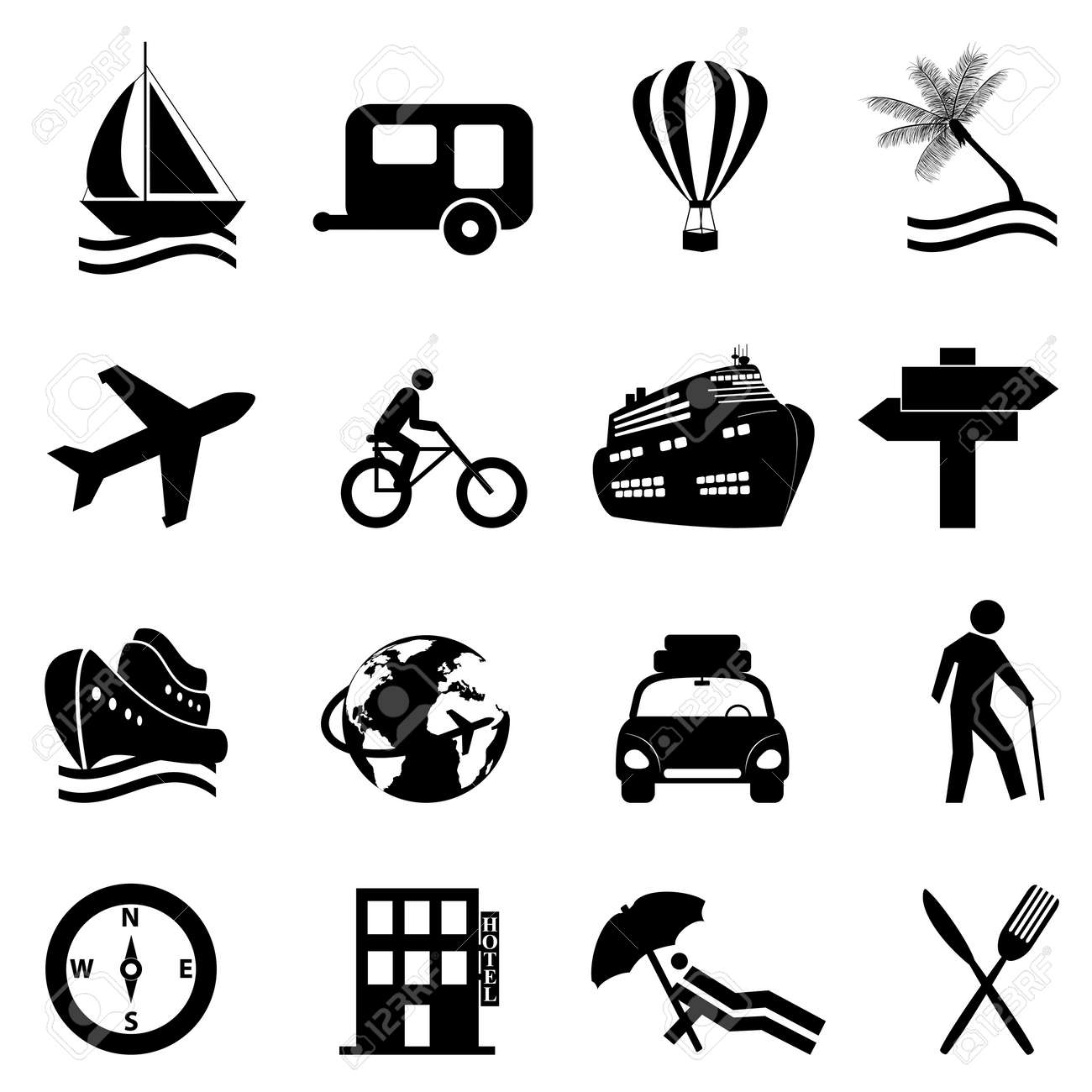 Leisure, travel and recreation icon set on white background Stock Vector - 11904956