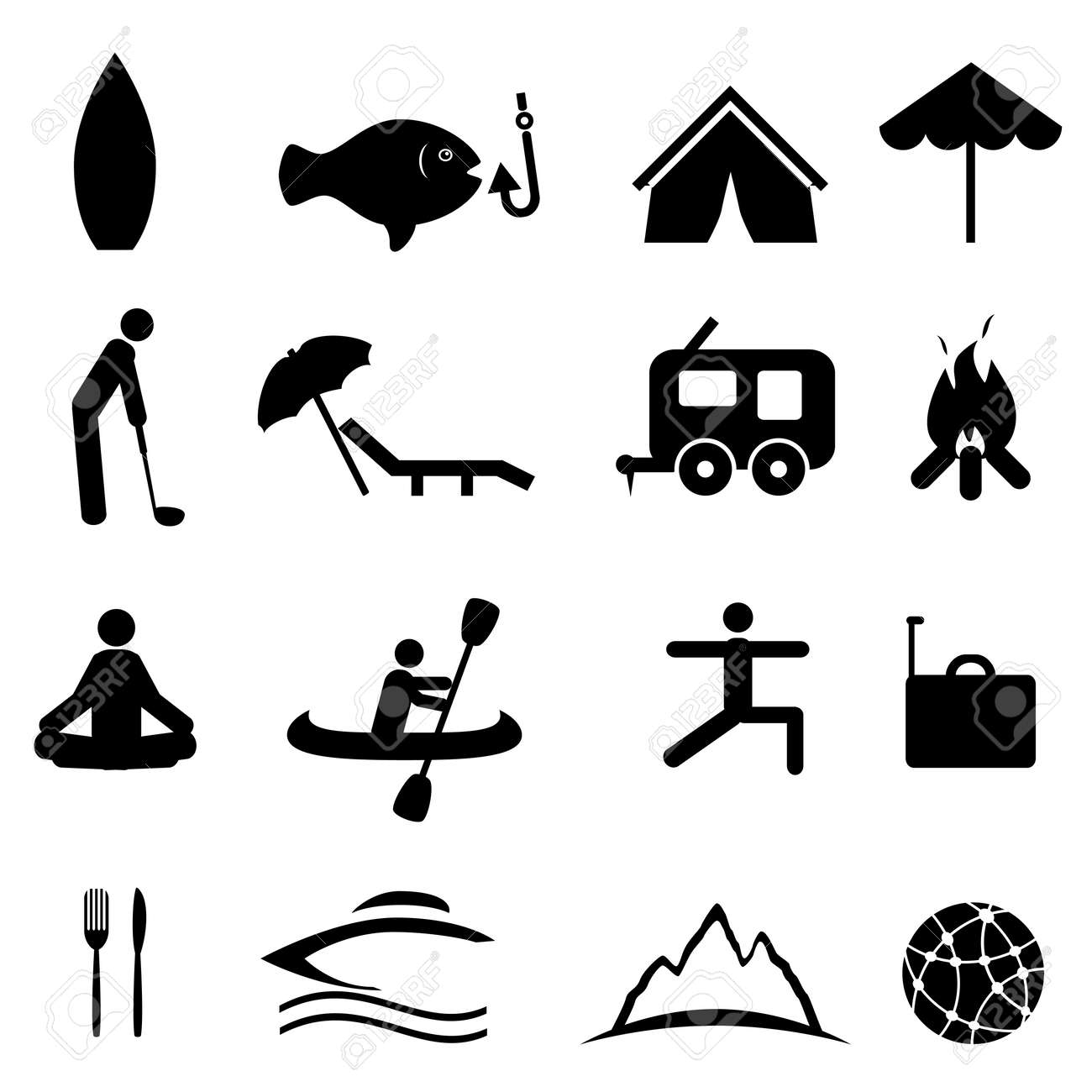 Sports and recreation icon set Stock Vector - 12305065