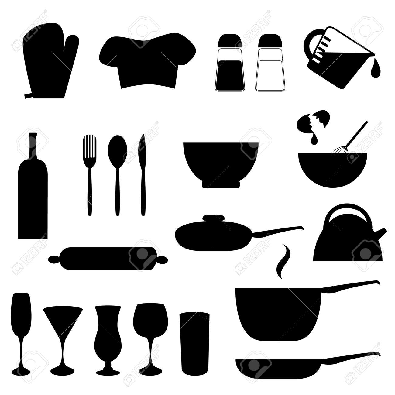 Various Kitchen Utensils In Silhouette Royalty Free Cliparts ...