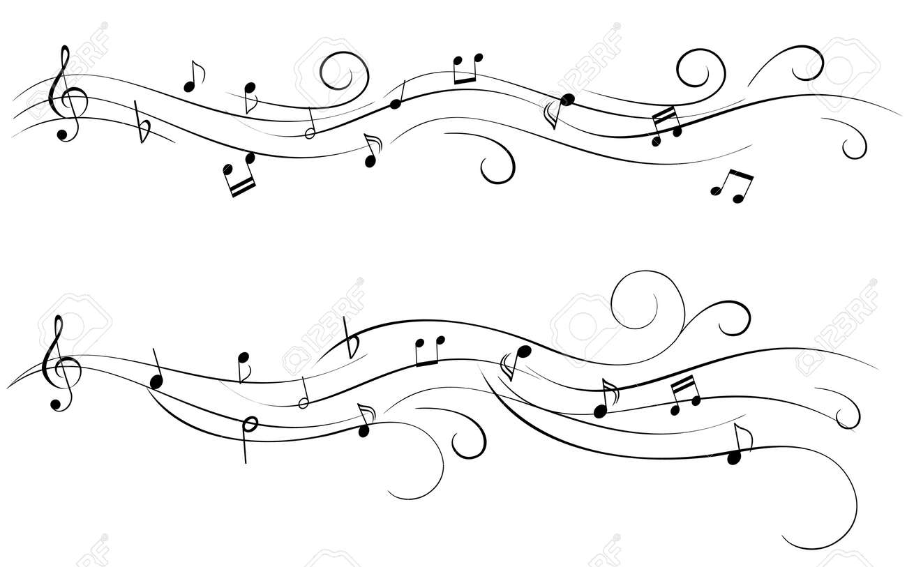 Musical notes staff background on white vector by tassel78 image - Music Stave Musical Notes For Sheet Music Illustration