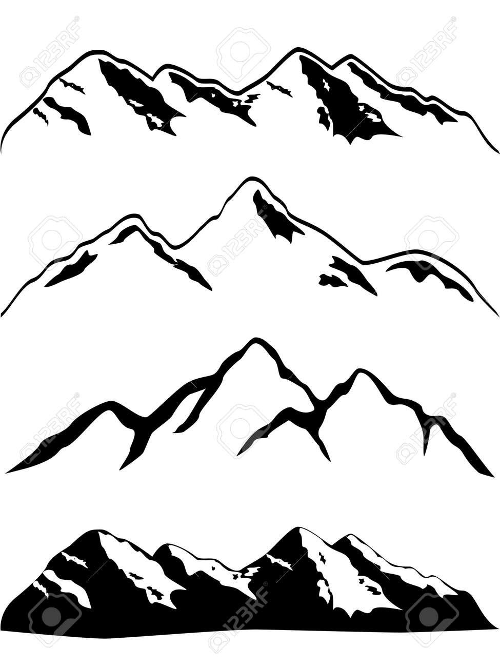 Various high mountain peaks Stock Vector - 12305144