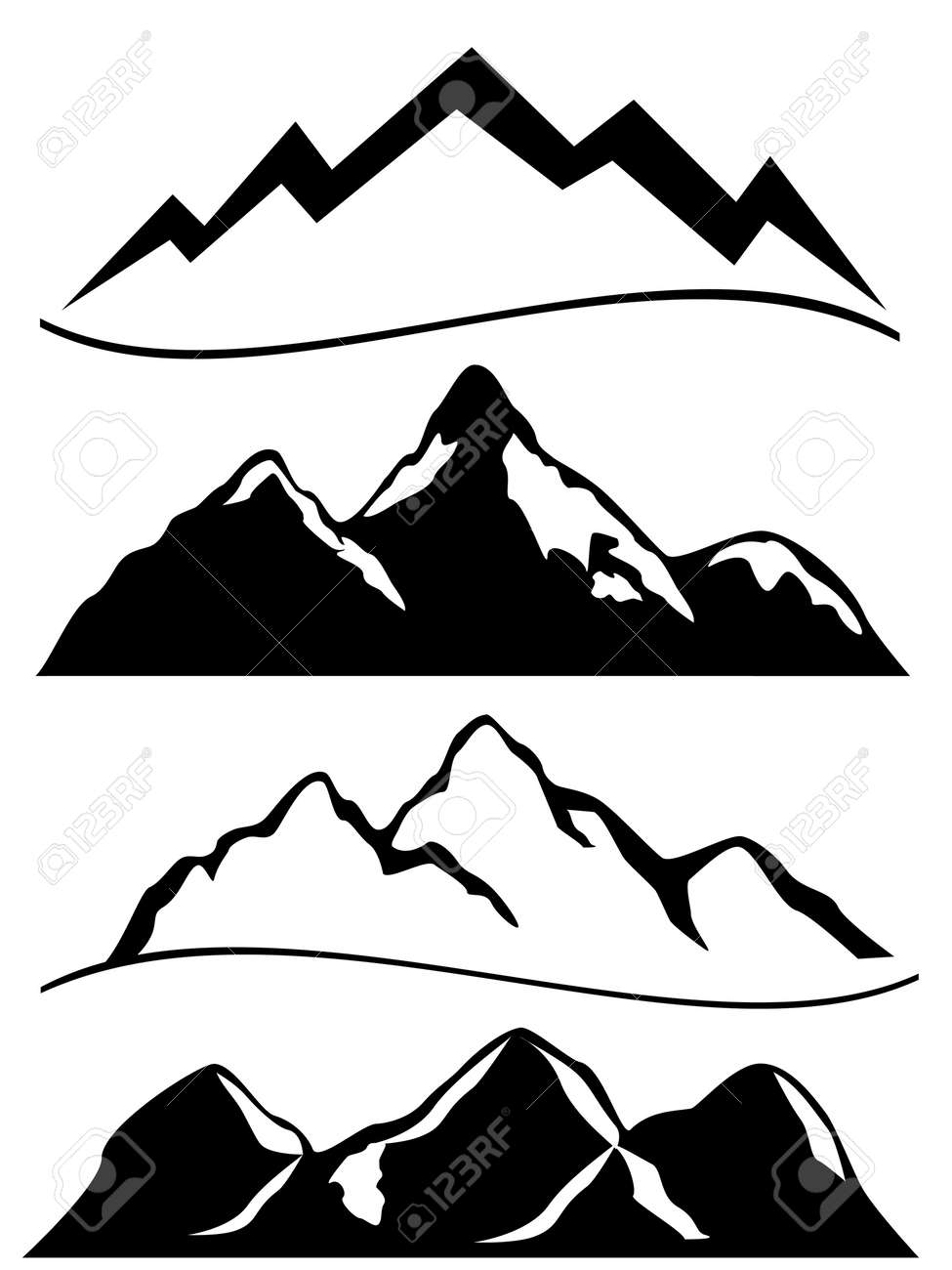 Various mountains in black and white Stock Vector - 12305105