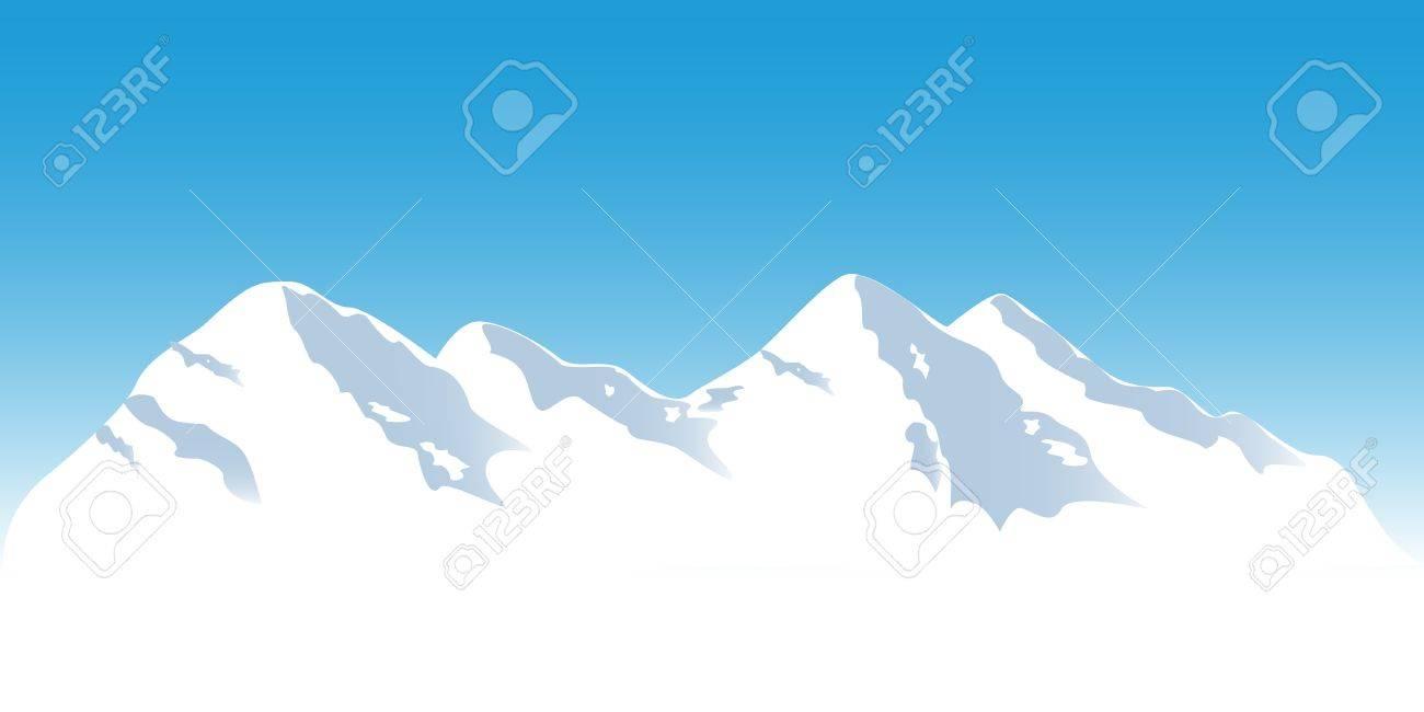 Snowy mountain tops in winter Stock Vector - 12305218
