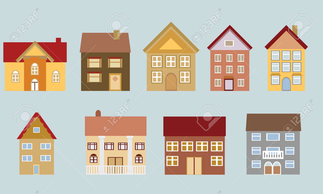 Various Houses With Different Architectural Styles Stock Vector   12305151