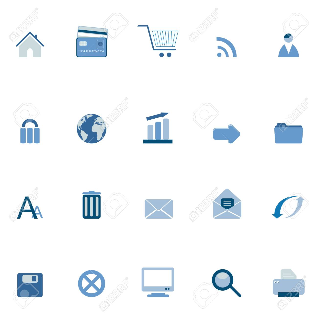 Internet and web symbols icon set Stock Vector - 12305291