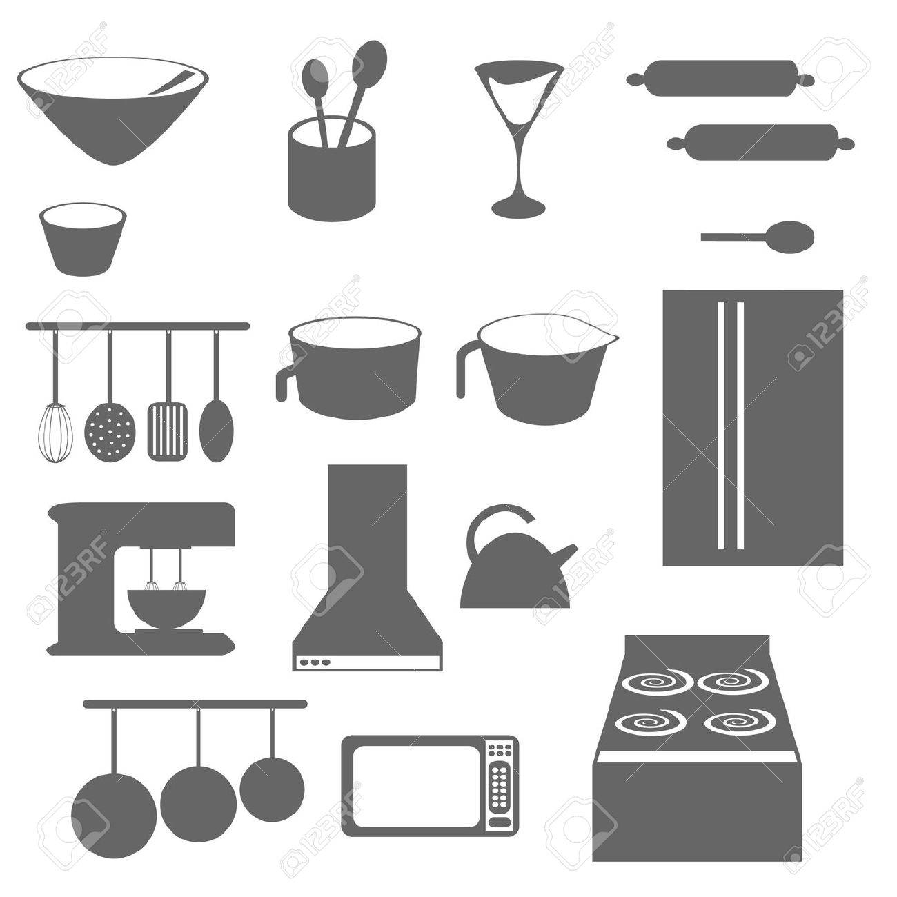 Oggetti Da Cucina Icone In Scala Di Grigi O Silhouette Clipart ...