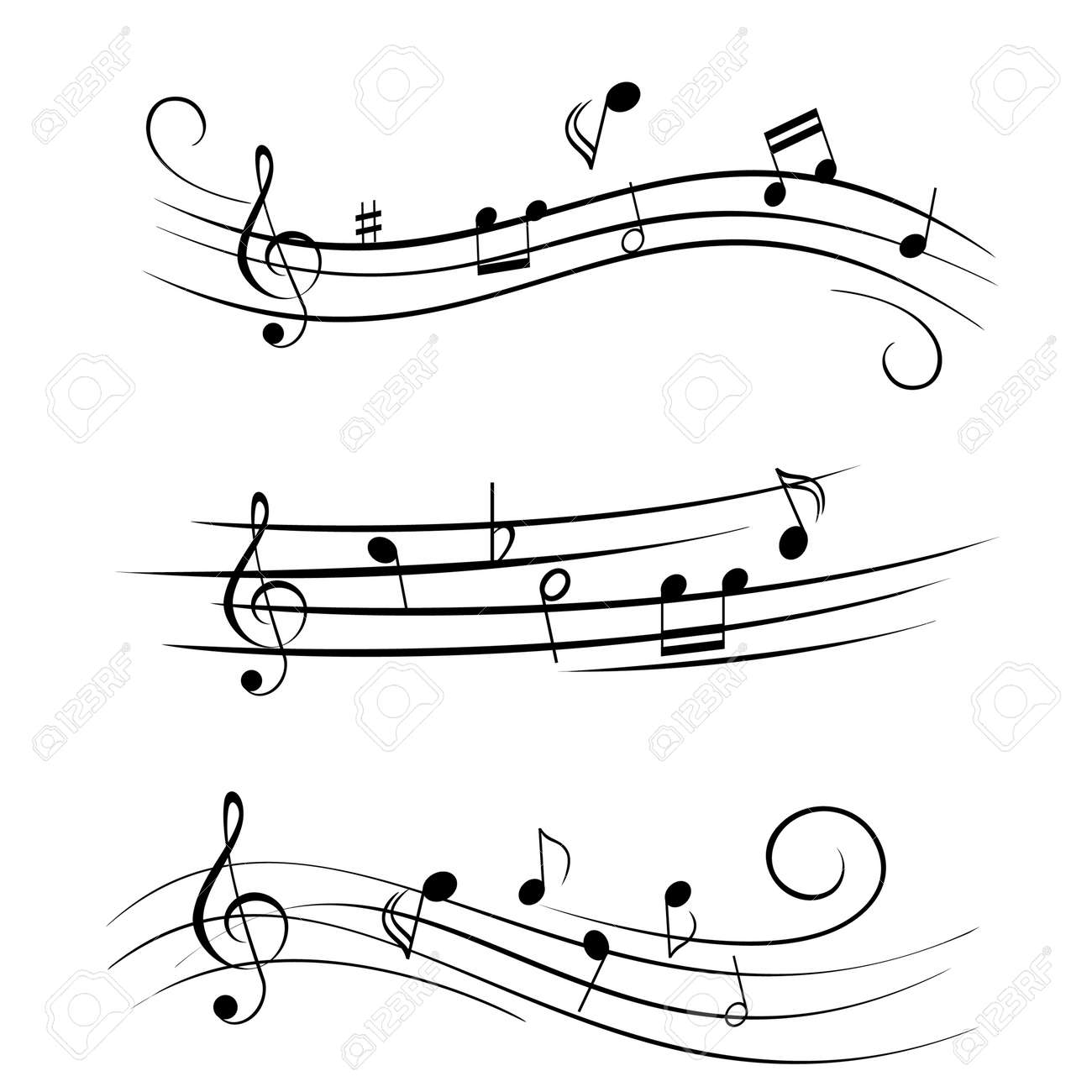 Various sheet music musical notes Stock Vector - 12305181