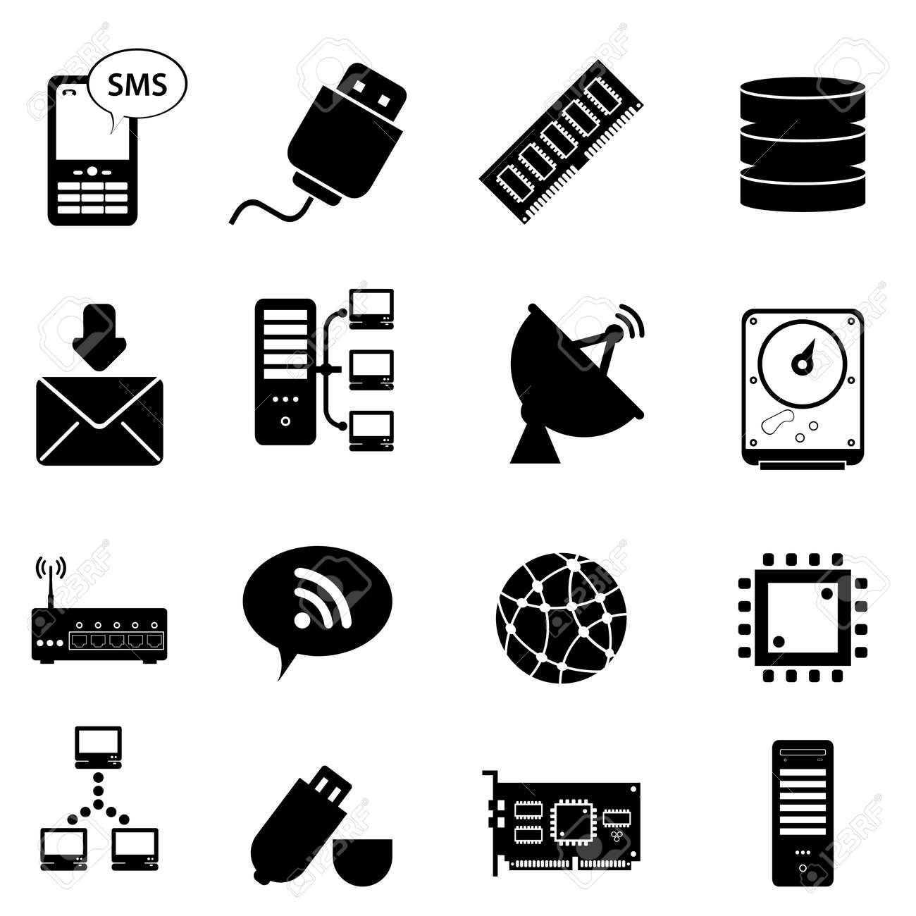 Computer and technology icon set Stock Vector - 12945045