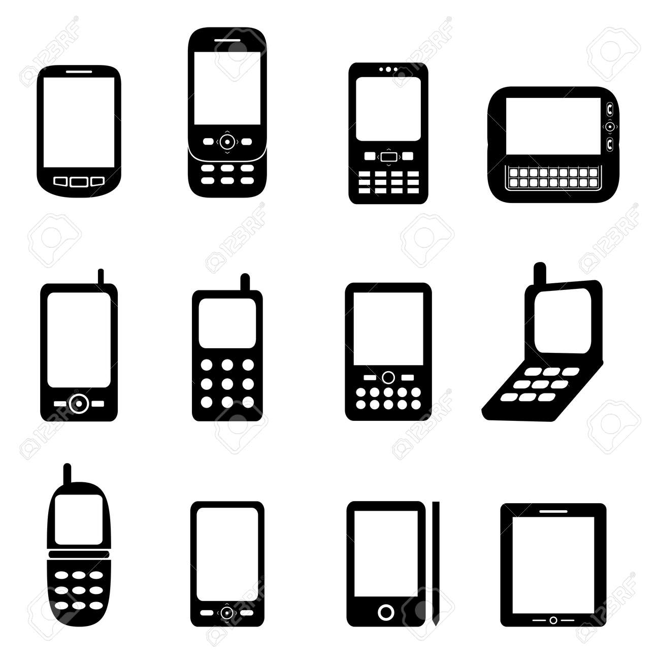 Various cell phones and tablets Stock Vector - 13053578