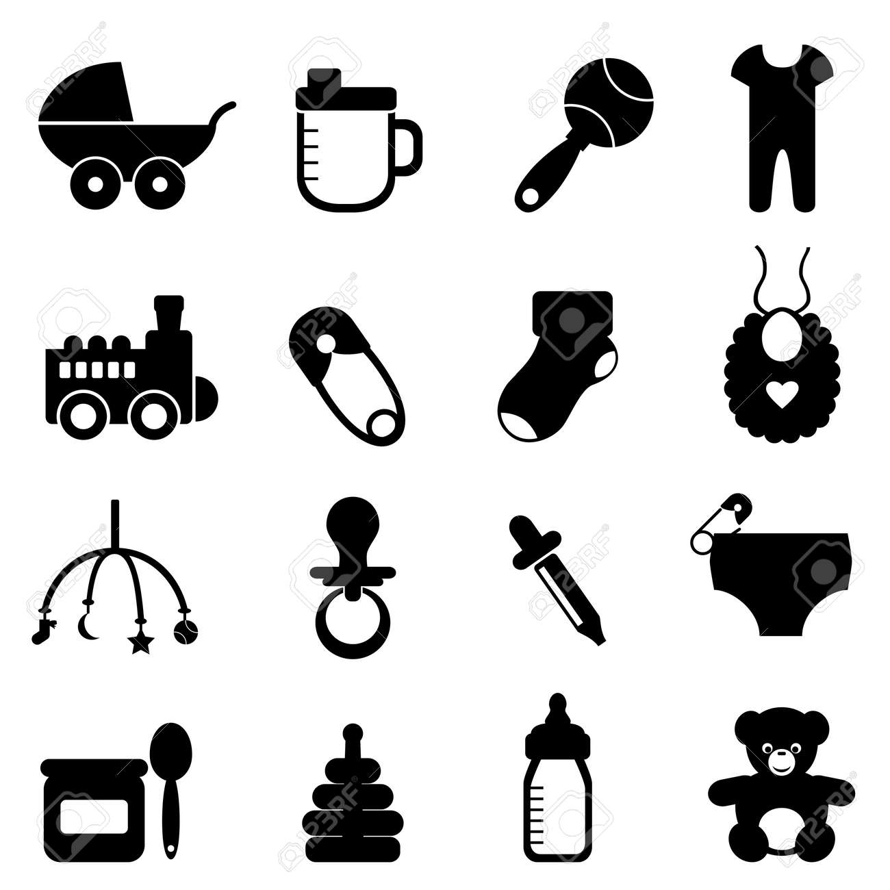 Baby objects icon set in black - 13225171