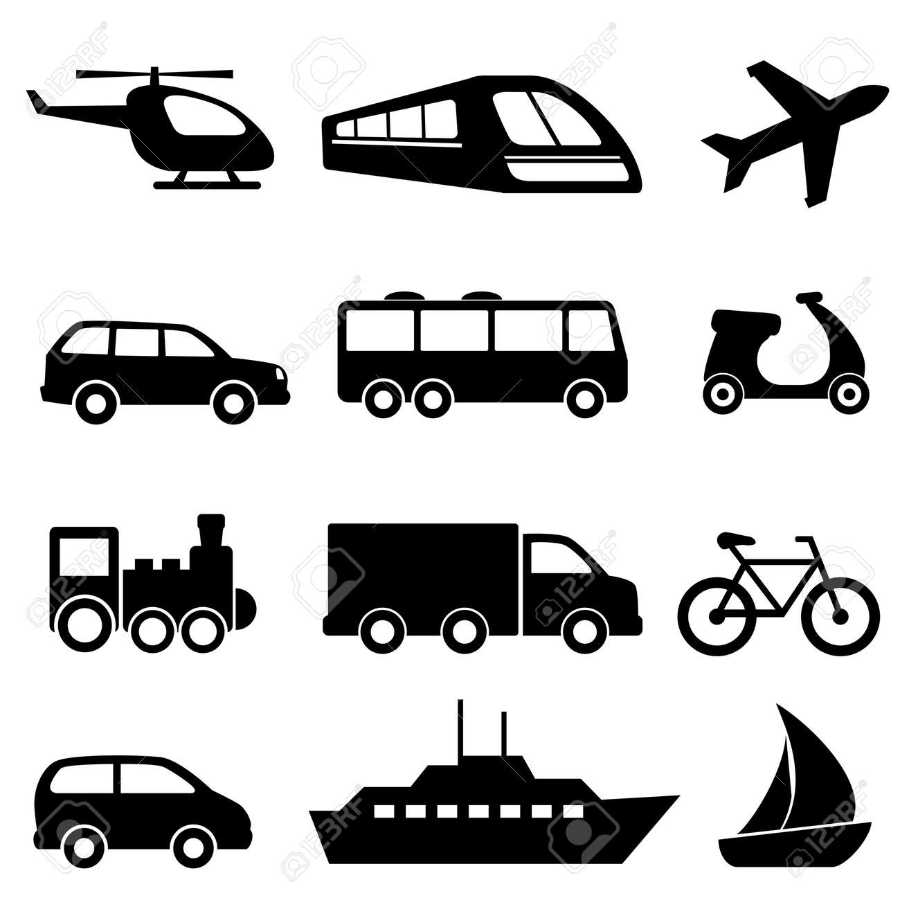 Icons for various means of transportation - 13984807