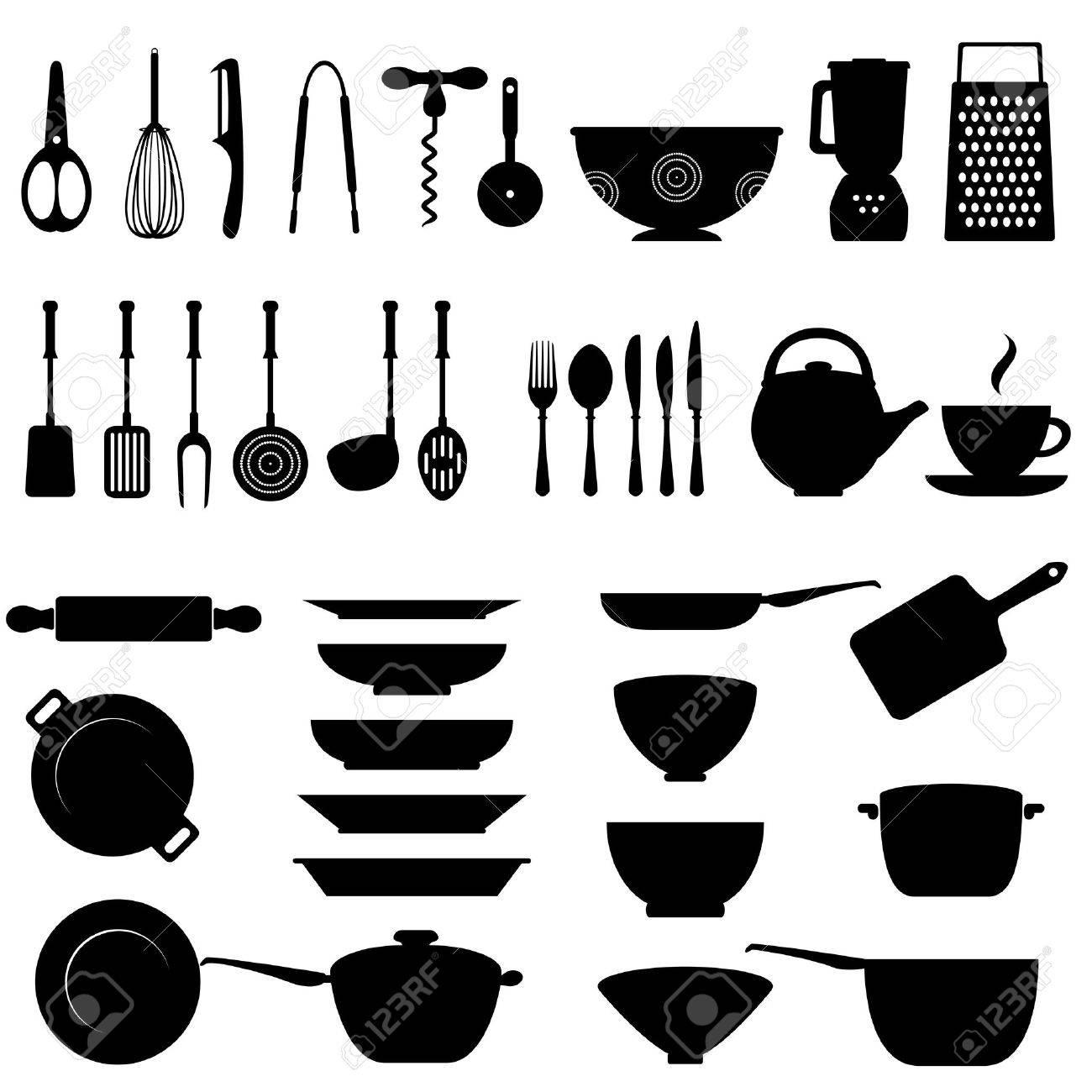 utensili da cucina e set di icone strumento clipart royalty-free ... - Arnesi Da Cucina