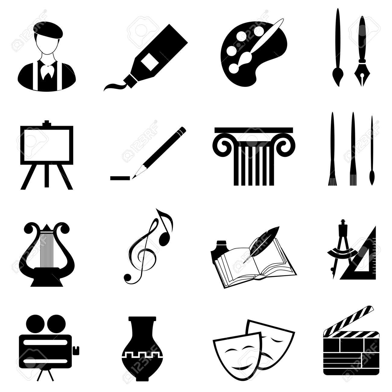 Arts icon set in black - 14843352