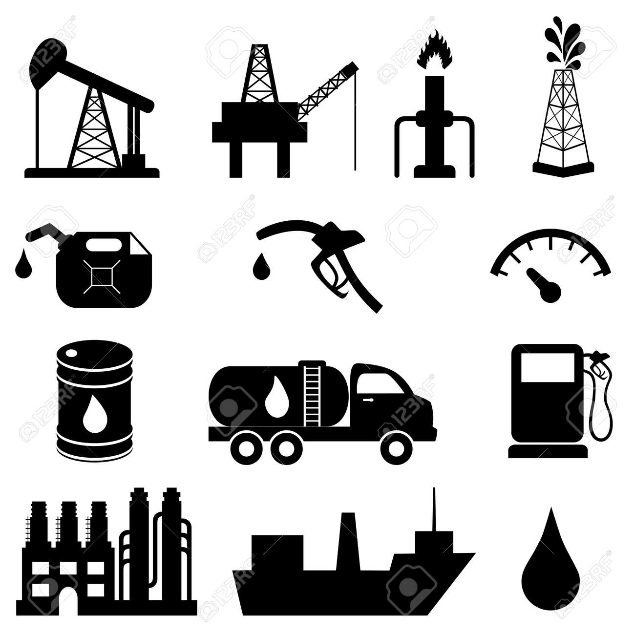 Oil and petroleum icon set - 14835137