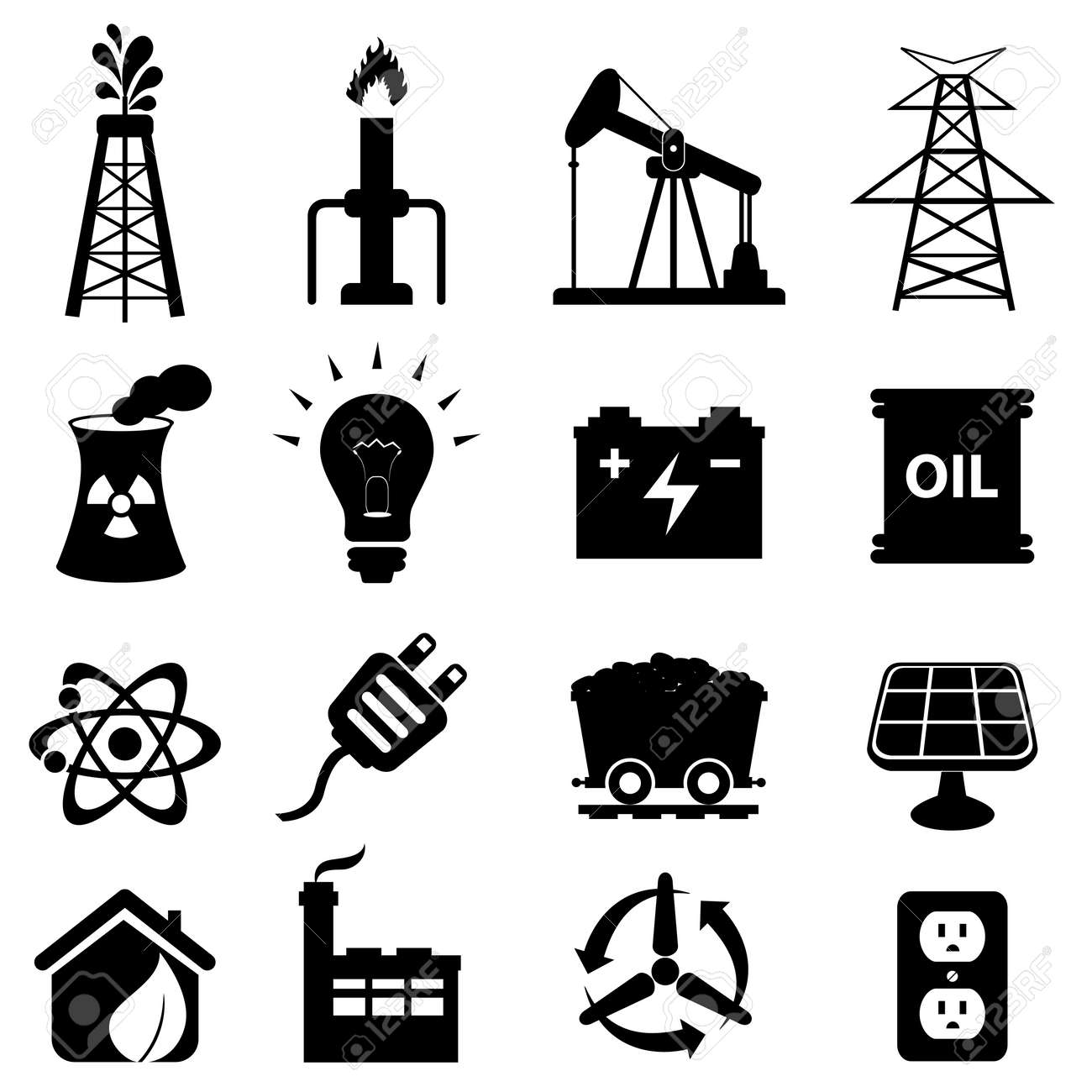 Oil and energy related icon set Stock Vector - 15126296