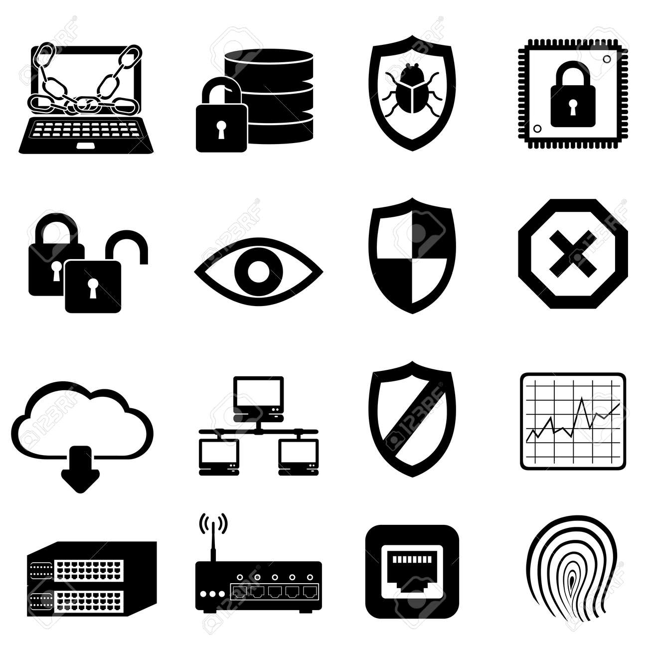 Network and computer security icon set - 15126300
