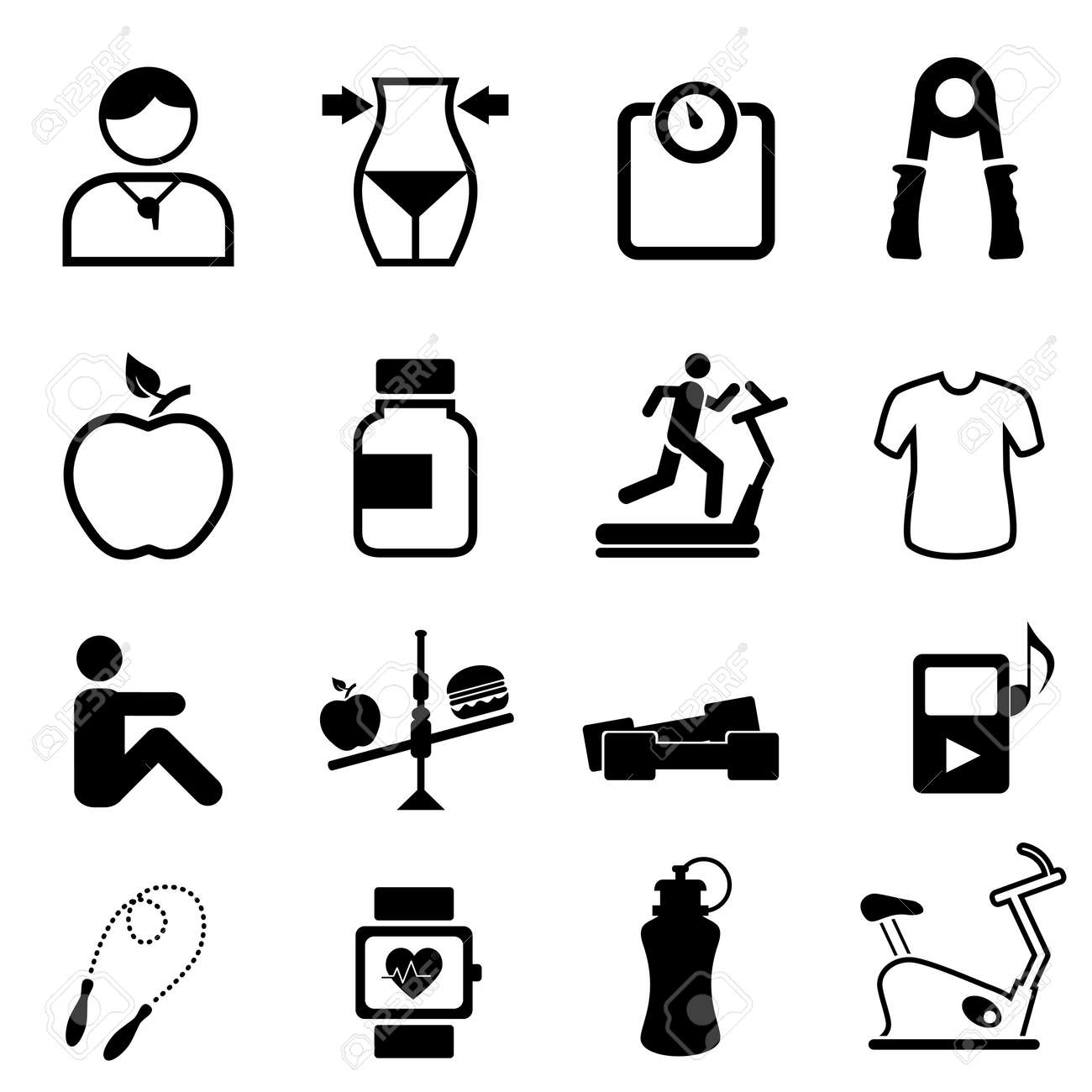 Health, fitness and diet icon set Stock Vector - 15441093