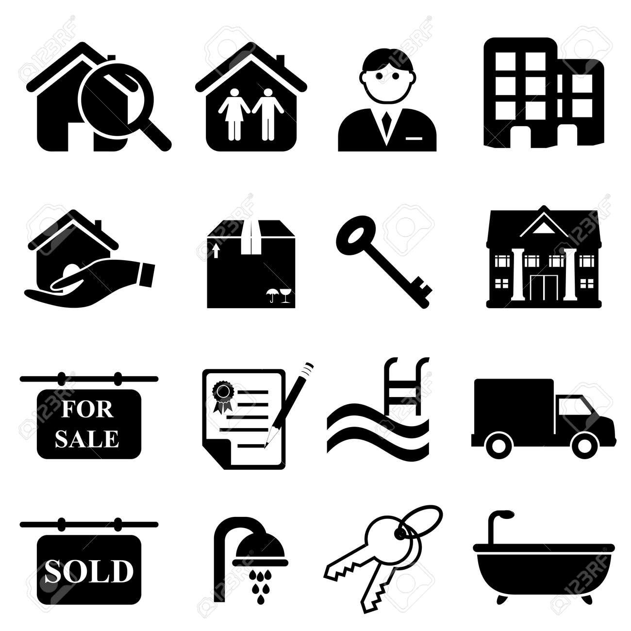 Real estate icon set in black Stock Vector - 15663431