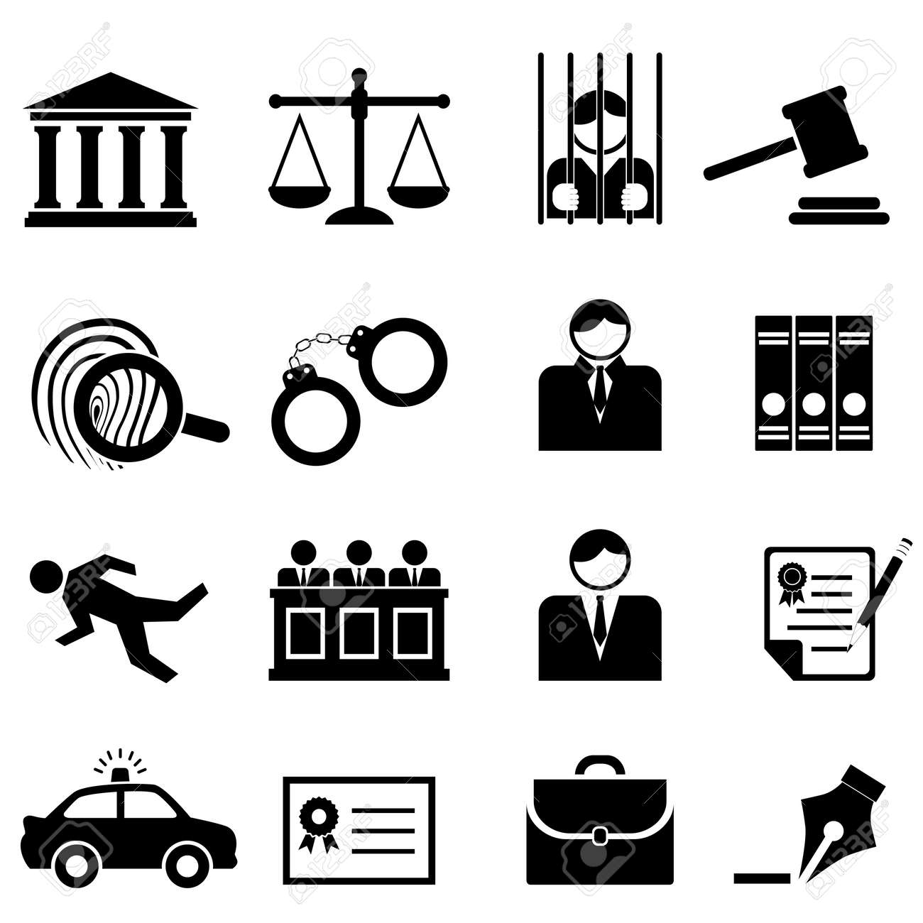 Legal, law and justice icon set - 15925487