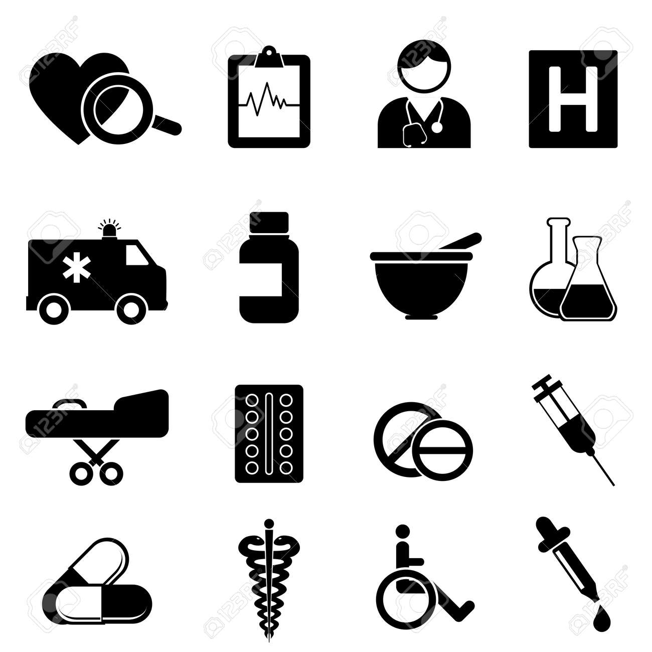 Health and medical icon set Stock Vector - 15925486