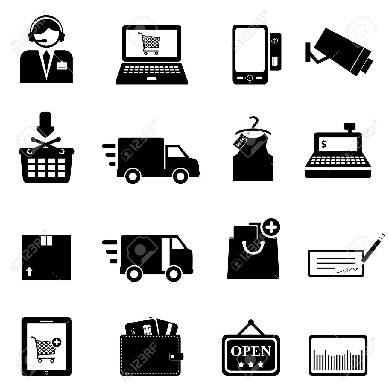 Shopping icon set in black - 16542817